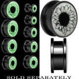 Arty Sunflower Glow in the Dark Screw Fit Plug in Black Titanium