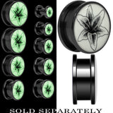 Arty Lily Flower Glow in the Dark Screw Fit Plug in Black Titanium
