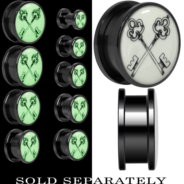 Arty Crossed Keys Glow in the Dark Screw Fit Plug in Black Titanium