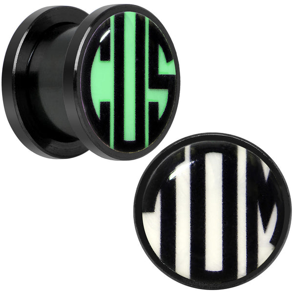 5mm to 20mm Black Glow in the Dark Custom Initial Screw Fit Plug Set