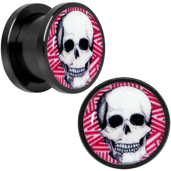 5mm to 20mm Black Glow in the Dark Grinning Skull Screw Fit Plug Set