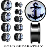 Nautical Anchor Mother of Pearl Screw Fit Plug in Anodized Black Titanium