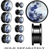 Moon Mother of Pearl Screw Fit Plug in Anodized Black Titanium