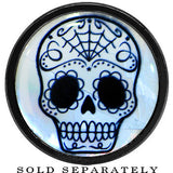 Sugar Skull Mother of Pearl Screw Fit Plug in Anodized Black Titanium