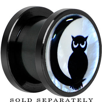 Owl on Moon Mother of Pearl Screw Fit Plug in Anodized Black Titanium