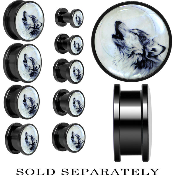 Howling Wolf Mother of Pearl Screw Fit Plug in Anodized Black Titanium