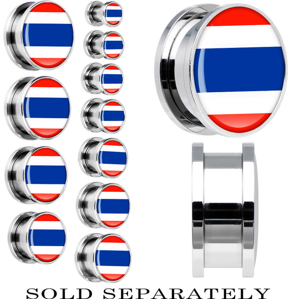Thailand Flag Stainless Steel Screw Fit Plug