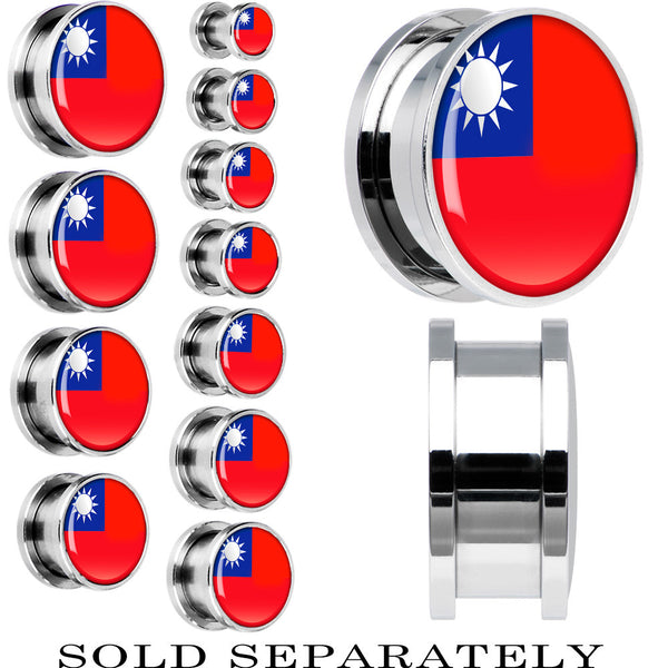 Taiwan Flag Stainless Steel Screw Fit Plug