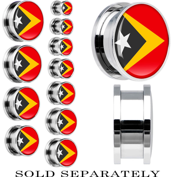 Timor-Leste Flag Stainless Steel Screw Fit Plug