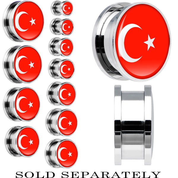 Turkey Flag Stainless Steel Screw Fit Plug