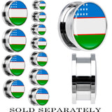 Uzbekistan Flag Stainless Steel Screw Fit Plug