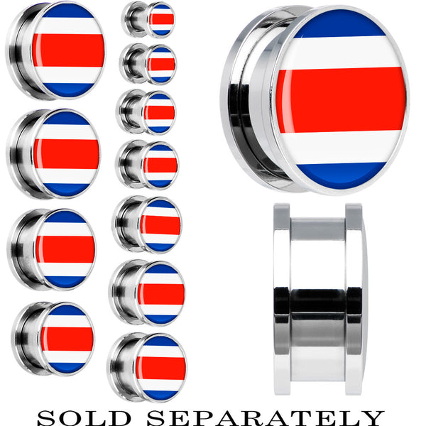 Costa Rica Flag Stainless Steel Screw Fit Plug