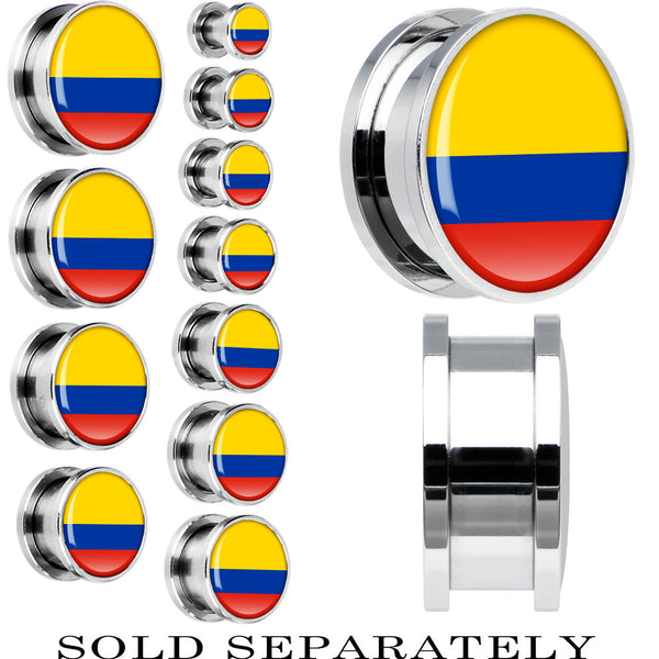 Colombia Flag Stainless Steel Screw Fit Plug