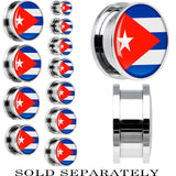 Cuba Flag Stainless Steel Screw Fit Plug