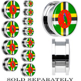 Dominica Flag Stainless Steel Screw Fit Plug