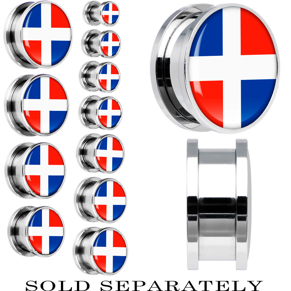 Dominican Republic Flag Stainless Steel Screw Fit Plug Bodycandy
