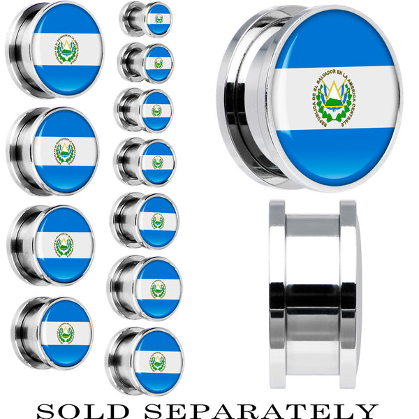 El Salvador Flag Stainless Steel Screw Fit Plug