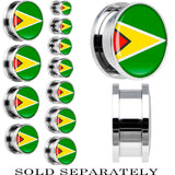 Guyana Flag Stainless Steel Screw Fit Plug
