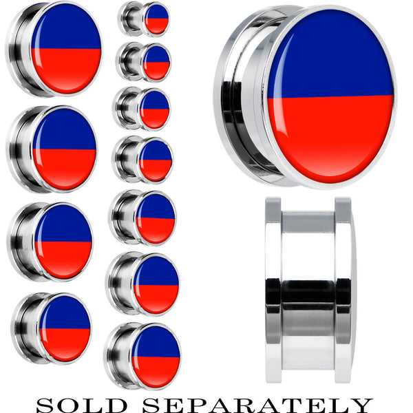 Haiti Flag Stainless Steel Screw Fit Plug