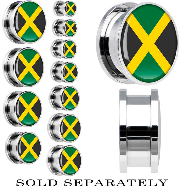 Jamaica Flag Stainless Steel Screw Fit Plug