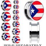 Puerto Rico Flag Stainless Steel Screw Fit Plug