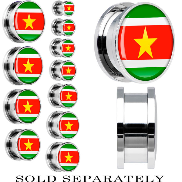 Suriname Flag Stainless Steel Screw Fit Plug