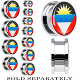 Antiqua and Barbuda Flag Stainless Steel Screw Fit Plug