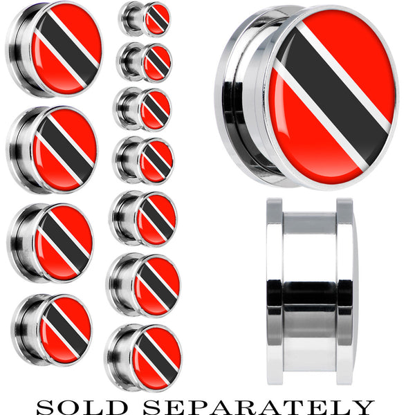 Trindad and Tobago Flag Stainless Steel Screw Fit Plug