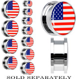 United States Flag Stainless Steel Screw Fit Plug