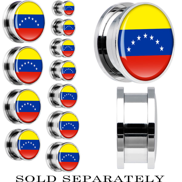 Venezuela Flag Stainless Steel Screw Fit Plug