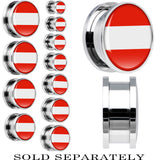 Austria Flag Stainless Steel Screw Fit Plug