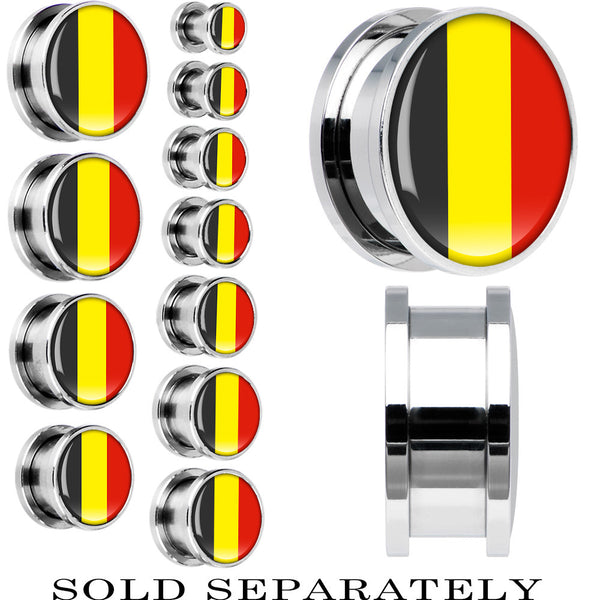 Belgium Flag Stainless Steel Screw Fit Plug