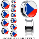 Czech Republic Flag Stainless Steel Screw Fit Plug