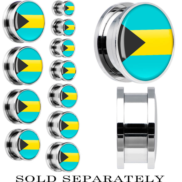 Bahamas Flag Stainless Steel Screw Fit Plug