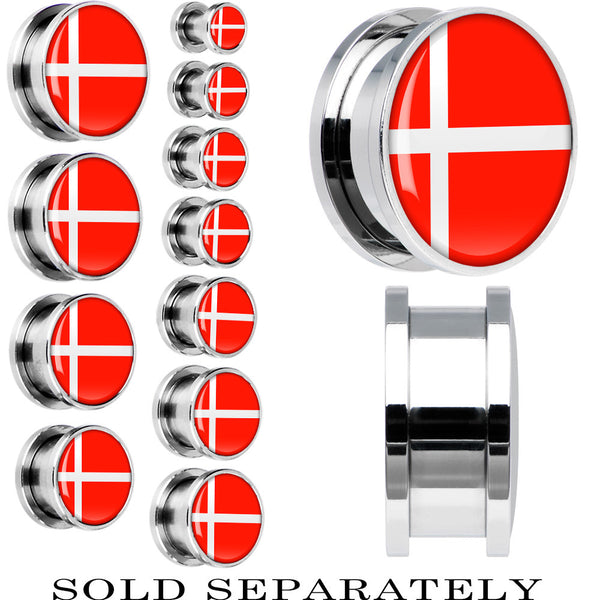 Stainless Steel Denmark Flag Screw Fit Plug