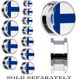 Finland Flag Stainless Steel Screw Fit Plug