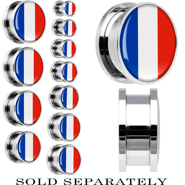 France Flag Stainless Steel Screw Fit Plug