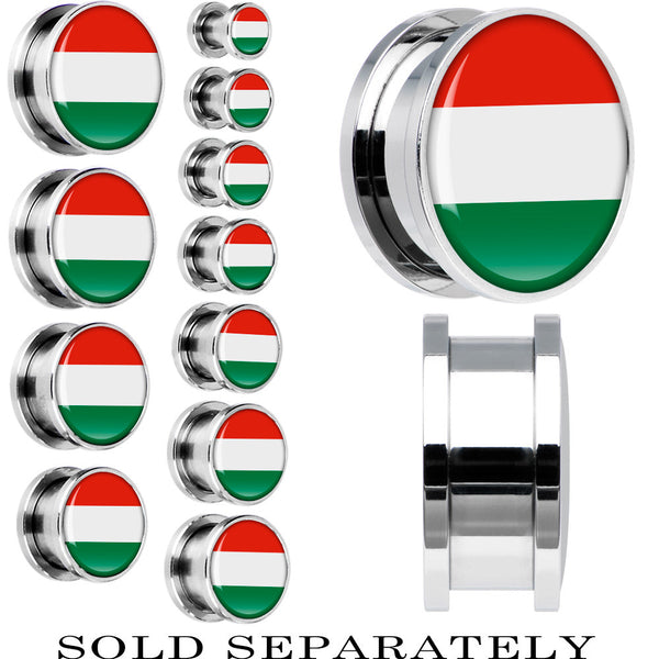Hungary Flag Stainless Steel Screw Fit Plug