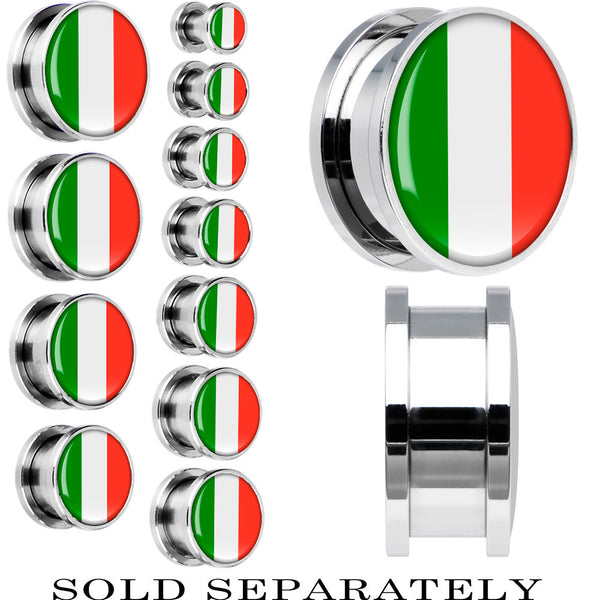 Italy Flag Stainless Steel Screw Fit Plug