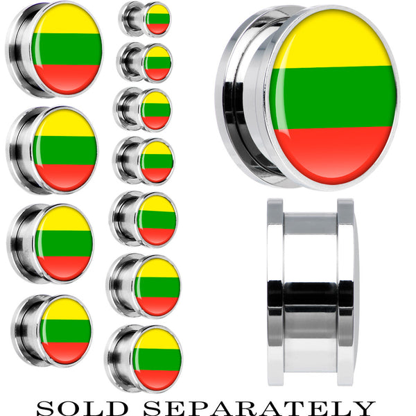 Lithuania Flag Stainless Steel Screw Fit Plug