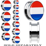 Netherlands Flag Stainless Steel Screw Fit Plug