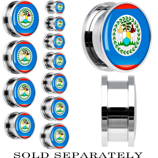 Belize Flag Stainless Steel Screw Fit Plug