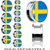 Sweden Flag Stainless Steel Screw Fit Plug