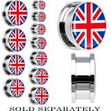 United Kingdom Flag Stainless Steel Screw Fit Plug