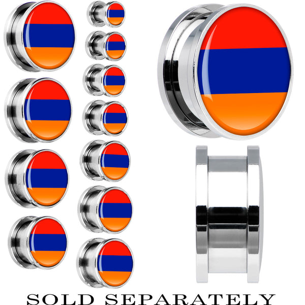 Armenia Flag Stainless Steel Screw Fit Plug