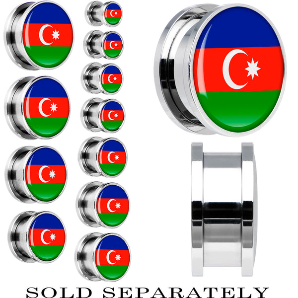 Azerbaijan Flag Stainless Steel Screw Fit Plug