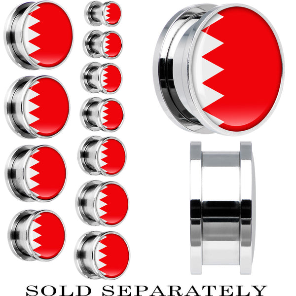 Bahrain Flag Stainless Steel Screw Fit Plug