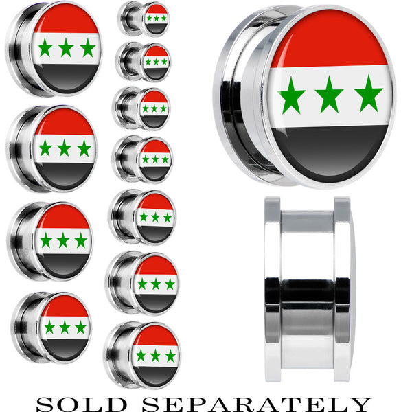 Iraq Flag Stainless Steel Screw Fit Plug
