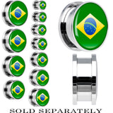 Brazil Flag Stainless Steel Screw Fit Plug