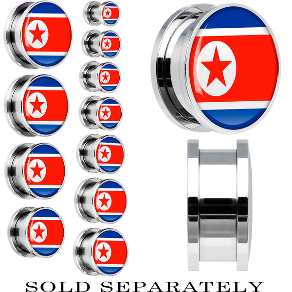North Korea Flag Stainless Steel Screw Fit Plug